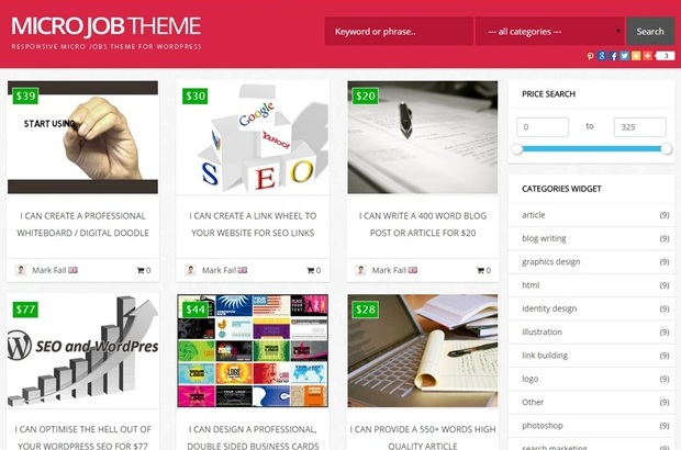 Micro-Jobs Marketplace Wordpress Theme