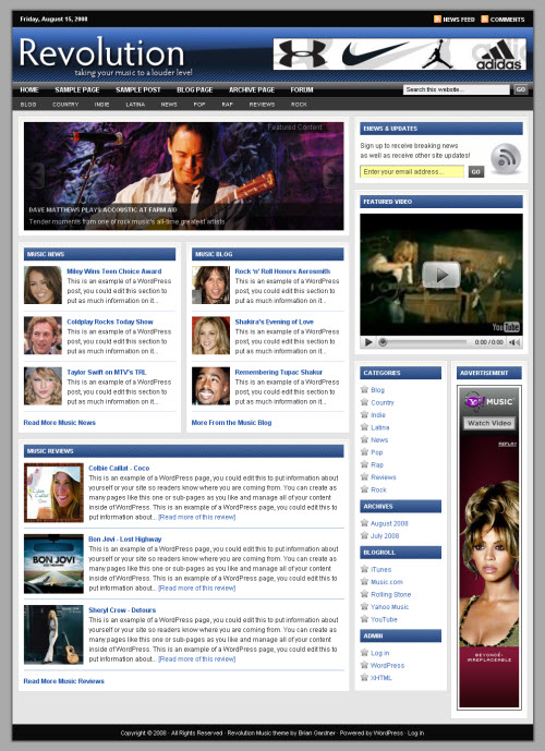revolution music wordpress theme