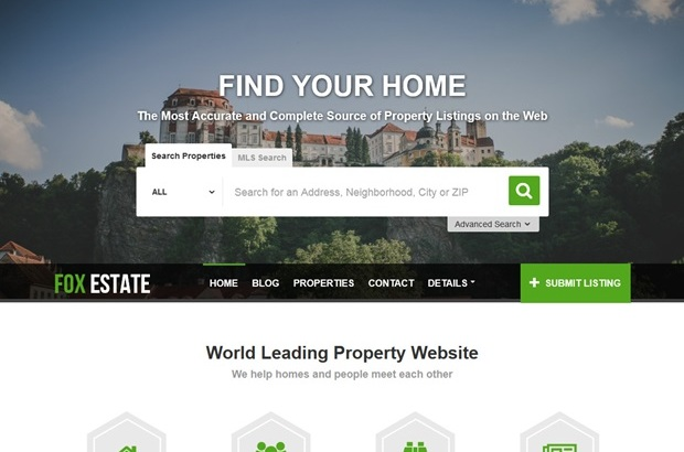 Fox Real Estate and Property Listing WordPress Theme