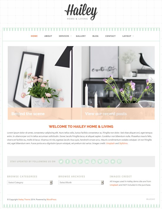 Beautiful Feminine WordPress Theme: Hailey