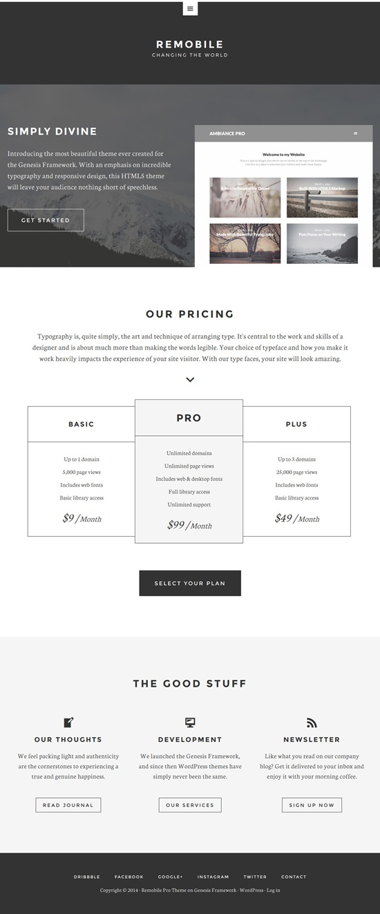 Remobile Pro Genesis Child WordPress Theme