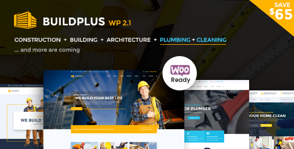 Construction WordPress Theme - Build Plus (Building, Construction, Cleaning, Plumbing) - Business Corporate