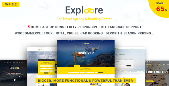 EXPLOORE - Travel, Exploration, Booking WordPress Theme - Travel Retail