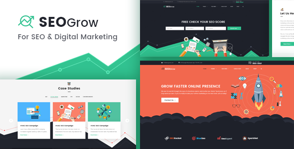 SEO Grow - SEO, Online Digital Marketing, Growth Hacking WordPress Theme - Marketing Corporate