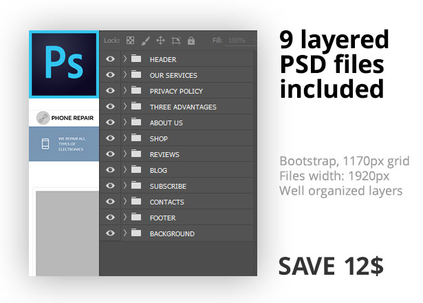 9 layered PSD files included